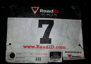 Bib from the first 5k of the 30 Minute Runner Project